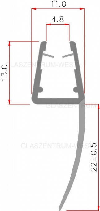 Tür Rundbogen Glas ~  West  Glas und Mehr  Rundbogen Streifdichtung 22 mm Lippe 48mm Glas